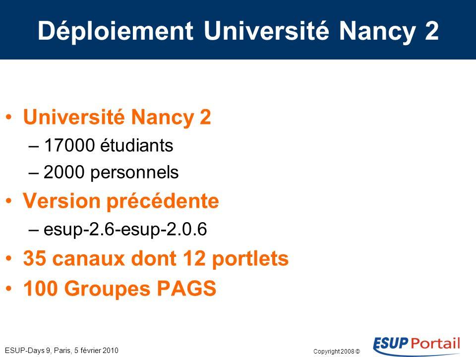 Copyright 2008 © ESUP-Days 9, Paris, 5 février 2010 Déploiement Université Nancy 2 Université Nancy 2 –17000 étudiants –2000 personnels Version précédente –esup-2.6-esup-2.0.6 35 canaux dont 12 portlets 100 Groupes PAGS