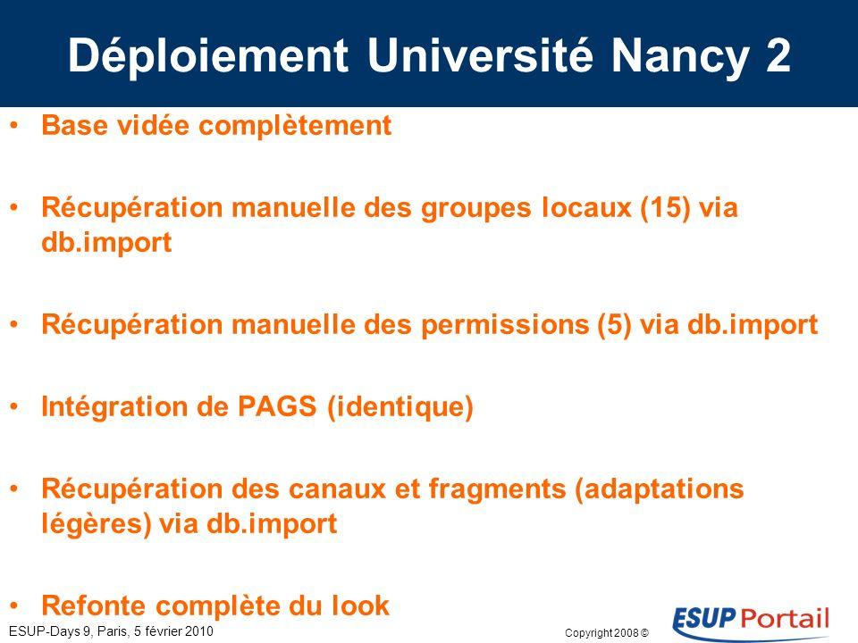 Copyright 2008 © ESUP-Days 9, Paris, 5 février 2010 Déploiement Université Nancy 2 Base vidée complètement Récupération manuelle des groupes locaux (1