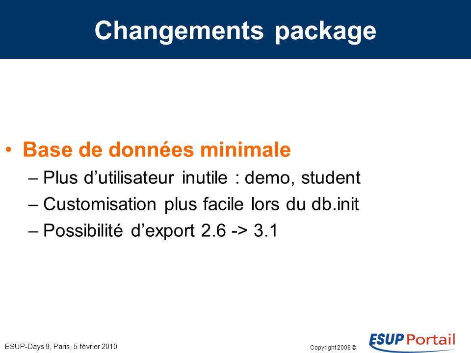 Copyright 2008 © ESUP-Days 9, Paris, 5 février 2010 Changements package Utilitaire dimport/exportation (db.import) –Canaux –Groupes –Permissions –Utilisateurs –Layouts –…