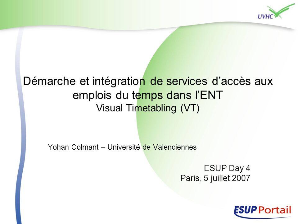 Démarche et intégration de services daccès aux emplois du temps dans lENT Visual Timetabling (VT) Yohan Colmant – Université de Valenciennes ESUP Day