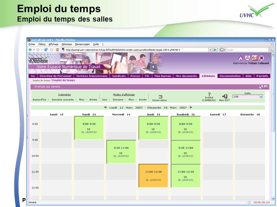 Paris, 5 juillet 2007ESUP Day 414 Emploi du temps Emploi du temps des salles