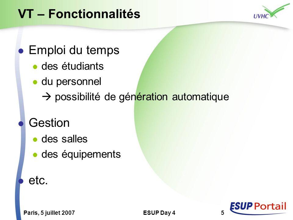 Paris, 5 juillet 2007ESUP Day 45 VT – Fonctionnalités Emploi du temps des étudiants du personnel possibilité de génération automatique Gestion des sal