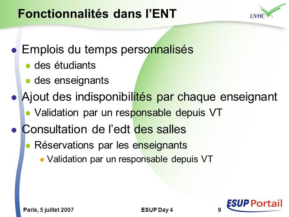 Paris, 5 juillet 2007ESUP Day 49 Fonctionnalités dans lENT Emplois du temps personnalisés des étudiants des enseignants Ajout des indisponibilités par