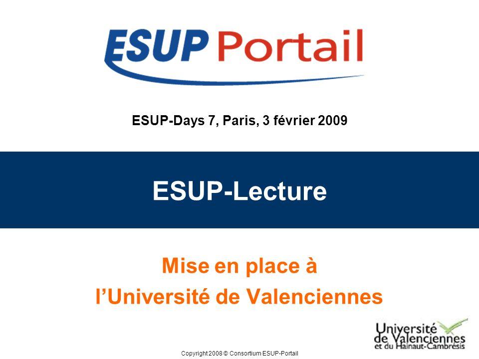 Copyright 2008 © ESUP-Days 7, Paris, 3 février 2009 Plan Avant ESUP-Lecture Avec ESUP-Lecture Evolutions de la gestion des actualités