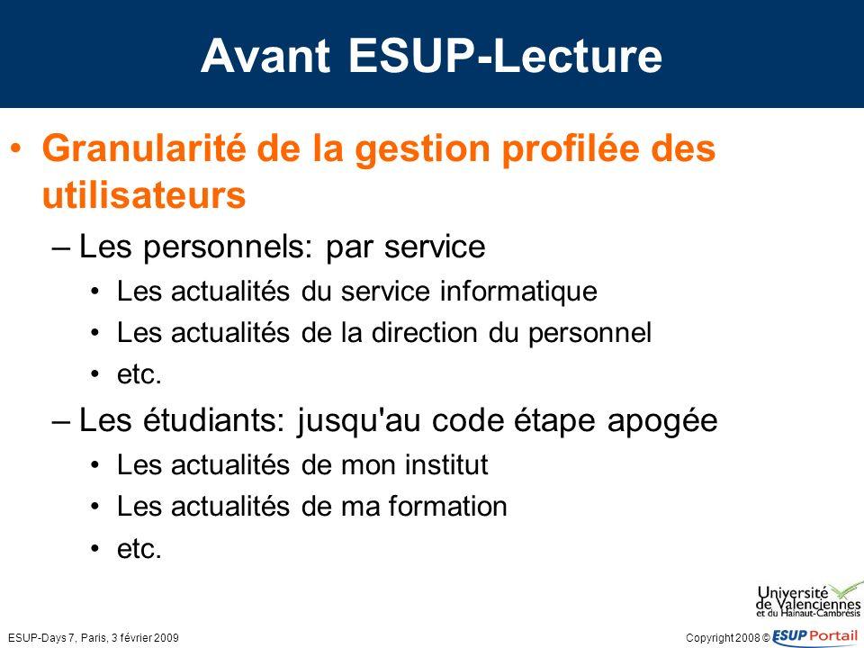 Copyright 2008 © ESUP-Days 7, Paris, 3 février 2009 Avant ESUP-Lecture 800 fragments pour plus de 1100 flux RSS générés par une application développée localement