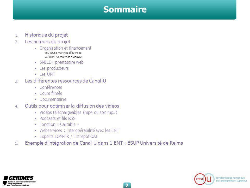 Sommaire 1. Historique du projet 2.