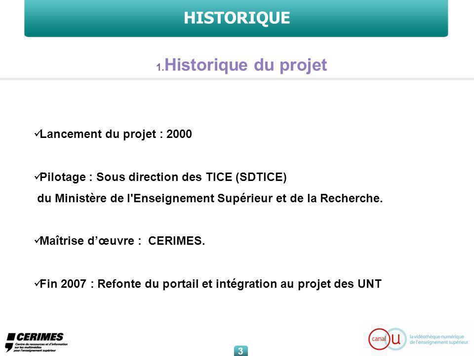 HISTORIQUE Lancement du projet : 2000 Pilotage : Sous direction des TICE (SDTICE) du Ministère de l Enseignement Supérieur et de la Recherche.