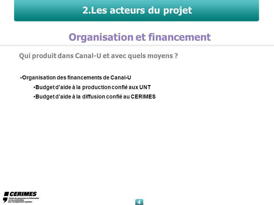 Organisation des financements de Canal-U Budget daide à la production confié aux UNT Budget daide à la diffusion confié au CERIMES 4 4 2.Les acteurs du projet Qui produit dans Canal-U et avec quels moyens .