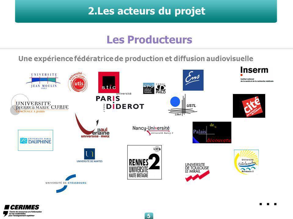5 5 2.Les acteurs du projet Une expérience fédératrice de production et diffusion audiovisuelle Les Producteurs …