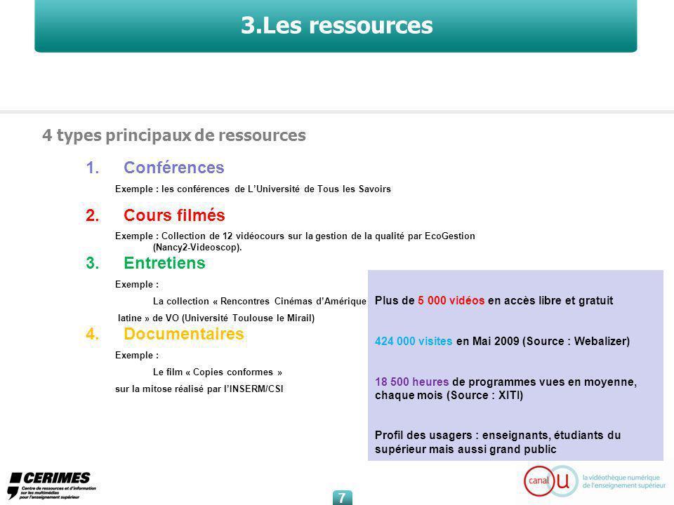 7 7 3.Les ressources 4 types principaux de ressources 1.Conférences Exemple : les conférences de LUniversité de Tous les Savoirs 2.Cours filmés Exemple : Collection de 12 vidéocours sur la gestion de la qualité par EcoGestion (Nancy2-Videoscop).