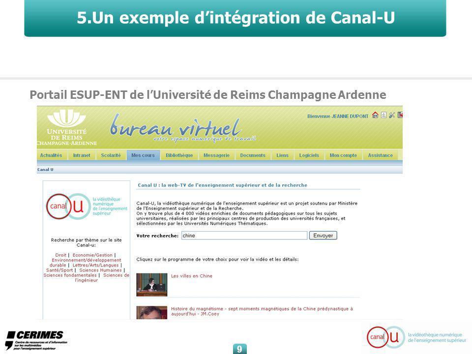 9 9 5.Un exemple dintégration de Canal-U Portail ESUP-ENT de lUniversité de Reims Champagne Ardenne