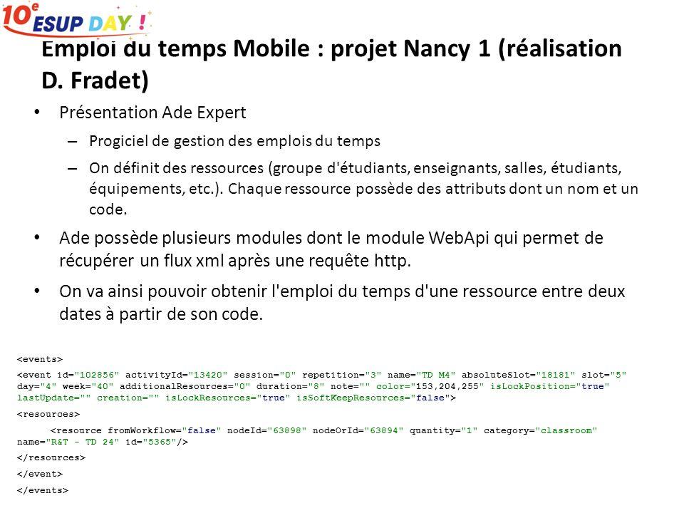 Emploi du temps Mobile : projet Nancy 1 (réalisation D. Fradet) Présentation Ade Expert – Progiciel de gestion des emplois du temps – On définit des r