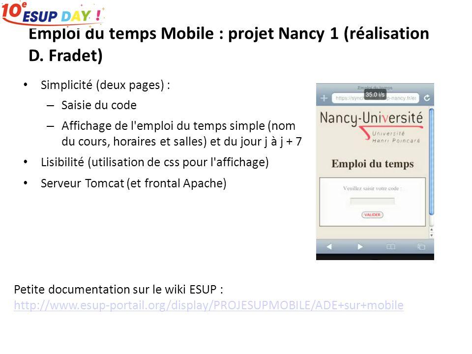 Emploi du temps Mobile : projet Nancy 1 (réalisation D.