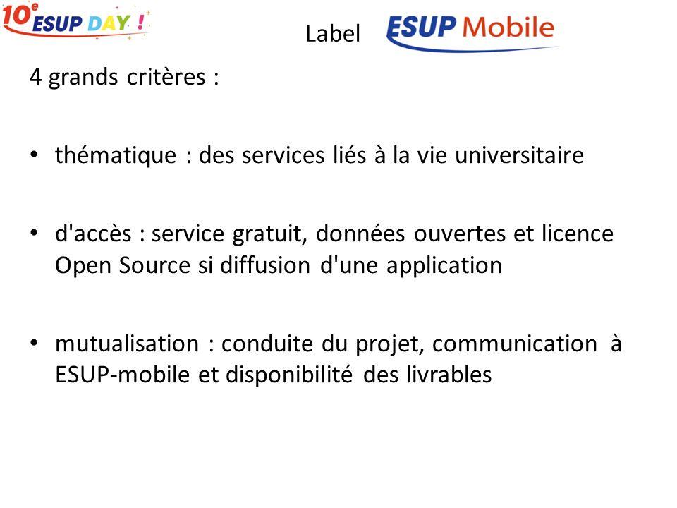 Label 4 grands critères : thématique : des services liés à la vie universitaire d accès : service gratuit, données ouvertes et licence Open Source si diffusion d une application mutualisation : conduite du projet, communication à ESUP-mobile et disponibilité des livrables