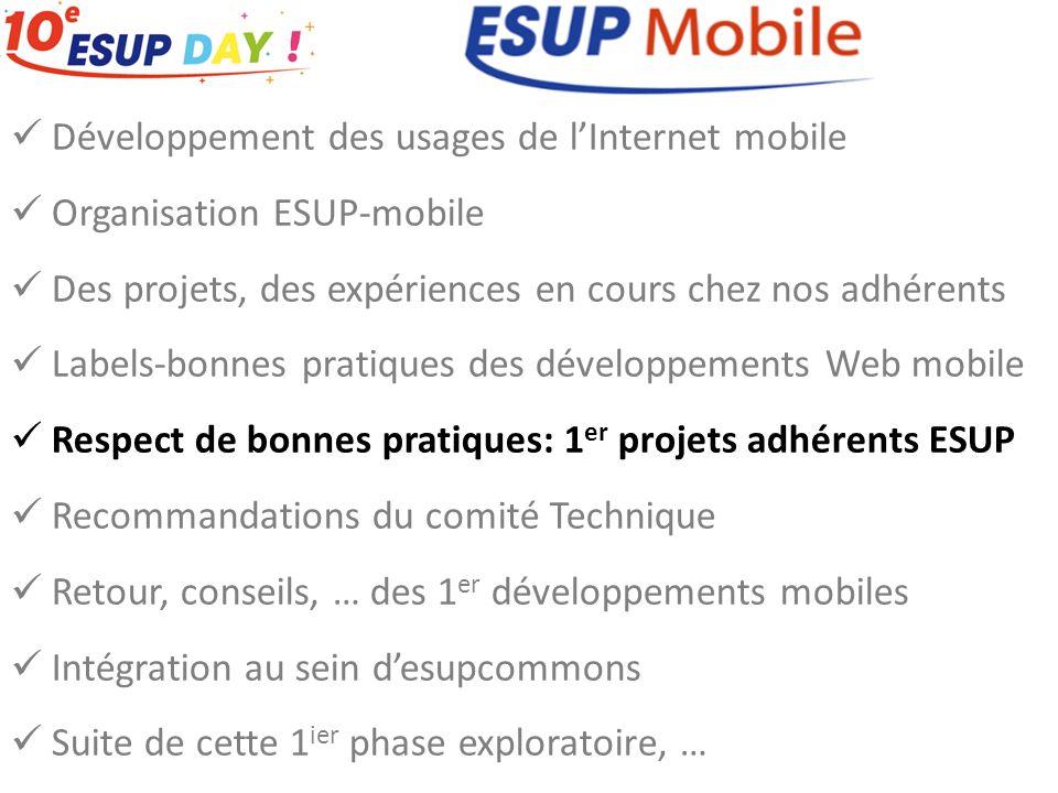 Développement des usages de lInternet mobile Organisation ESUP-mobile Des projets, des expériences en cours chez nos adhérents Labels-bonnes pratiques