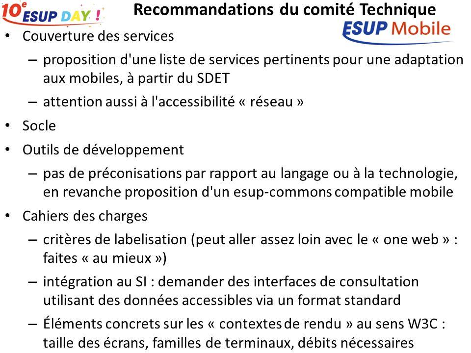 Recommandations du comité Technique Couverture des services – proposition d'une liste de services pertinents pour une adaptation aux mobiles, à partir