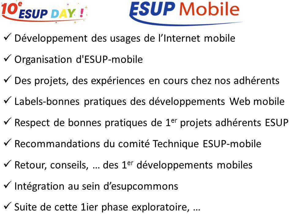 Développement des usages de lInternet mobile Organisation d'ESUP-mobile Des projets, des expériences en cours chez nos adhérents Labels-bonnes pratiqu