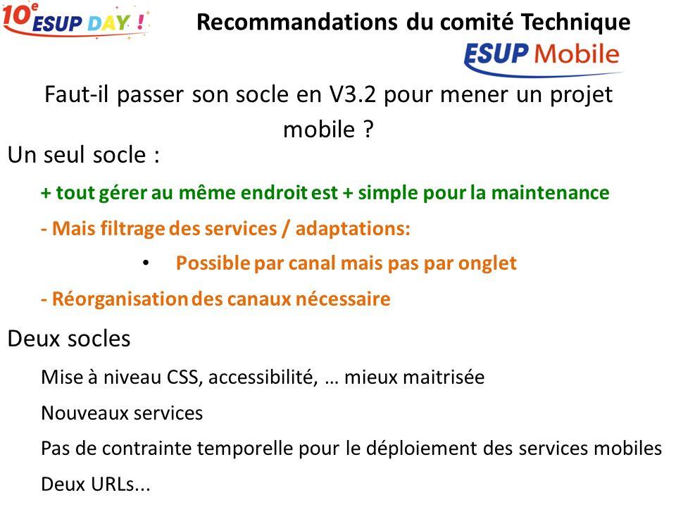 Recommandations du comité Technique Faut-il passer son socle en V3.2 pour mener un projet mobile ? Un seul socle : + tout gérer au même endroit est +