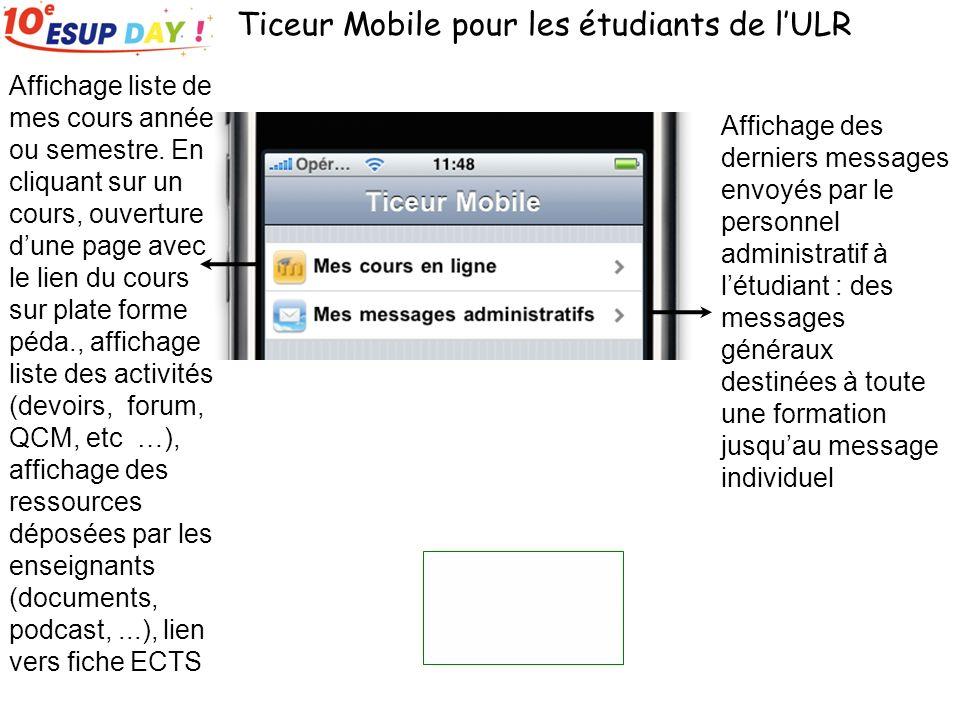Ticeur Mobile pour les étudiants de lULR Affichage des derniers messages envoyés par le personnel administratif à létudiant : des messages généraux de