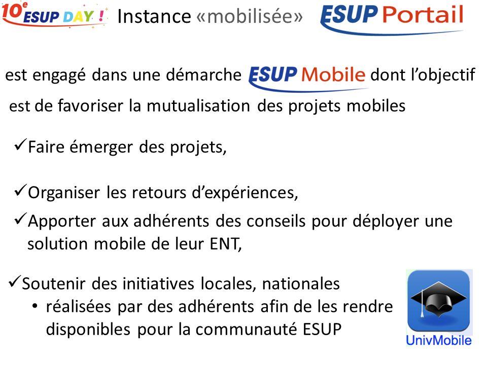 Instance «mobilisée» Apporter aux adhérents des conseils pour déployer une solution mobile de leur ENT, Faire émerger des projets, Organiser les retou