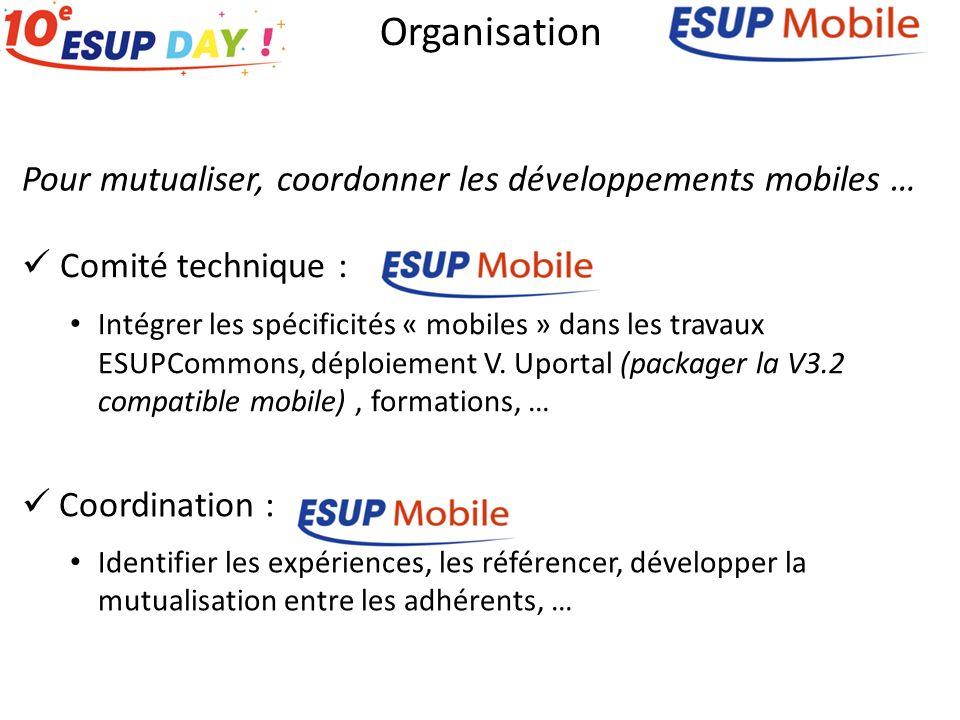 Pour mutualiser, coordonner les développements mobiles … Organisation Comité technique : Intégrer les spécificités « mobiles » dans les travaux ESUPCommons, déploiement V.