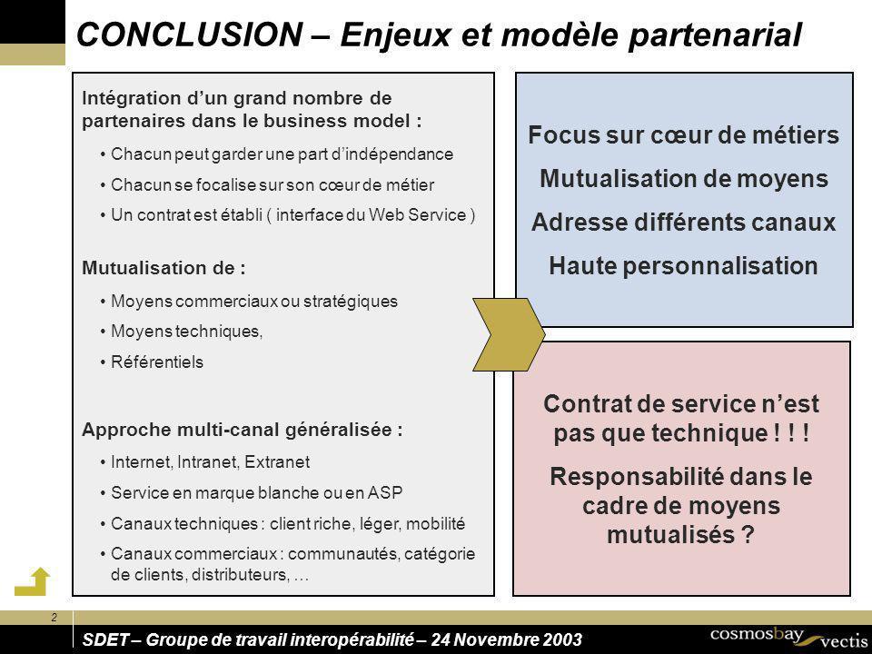 2 SDET – Groupe de travail interopérabilité – 24 Novembre 2003 CONCLUSION – Enjeux et modèle partenarial Focus sur cœur de métiers Mutualisation de mo