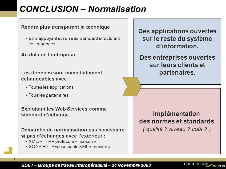 5 SDET – Groupe de travail interopérabilité – 24 Novembre 2003 CONCLUSION – Normalisation Des applications ouvertes sur le reste du système dinformati