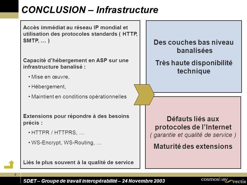 8 SDET – Groupe de travail interopérabilité – 24 Novembre 2003 CONCLUSION – Infrastructure Des couches bas niveau banalisées Très haute disponibilité