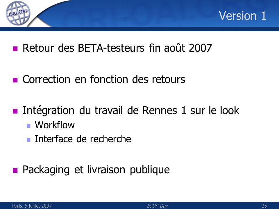 Paris, 5 juillet 2007ESUP-Day25 Version 1 Retour des BETA-testeurs fin août 2007 Correction en fonction des retours Intégration du travail de Rennes 1 sur le look Workflow Interface de recherche Packaging et livraison publique