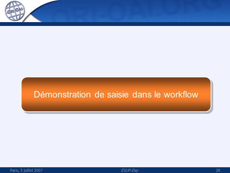 Paris, 5 juillet 2007ESUP-Day28 Démonstration de saisie dans le workflow