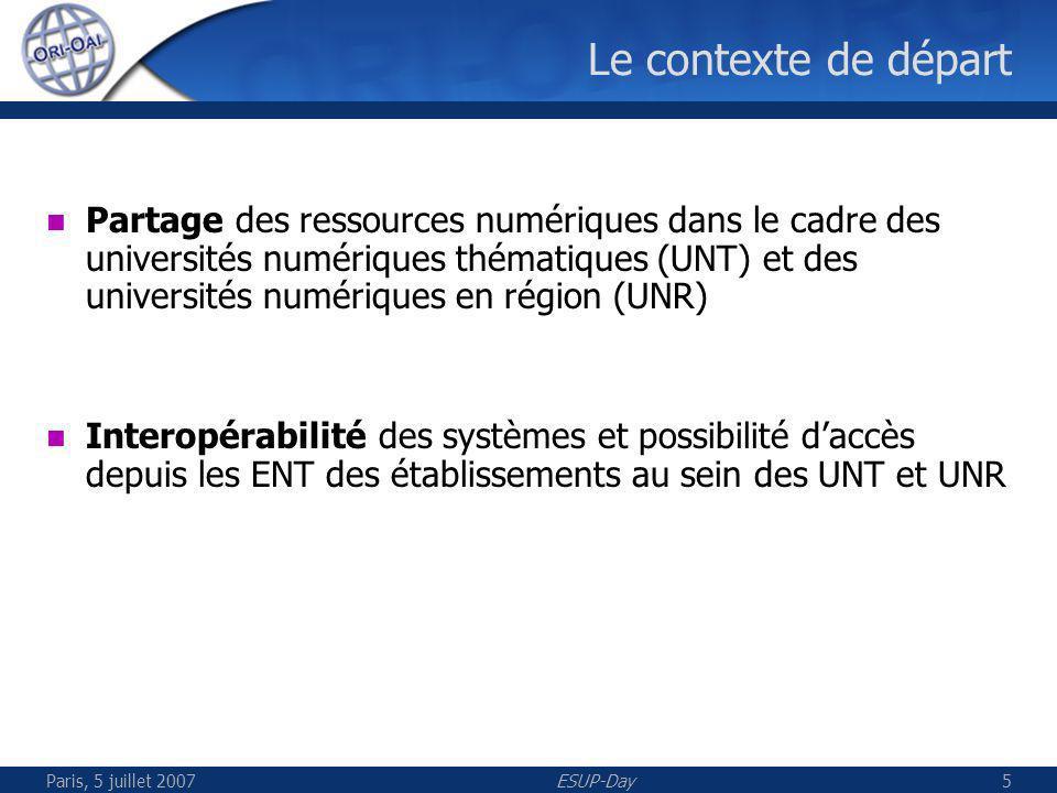 Paris, 5 juillet 2007ESUP-Day5 Le contexte de départ Partage des ressources numériques dans le cadre des universités numériques thématiques (UNT) et des universités numériques en région (UNR) Interopérabilité des systèmes et possibilité daccès depuis les ENT des établissements au sein des UNT et UNR