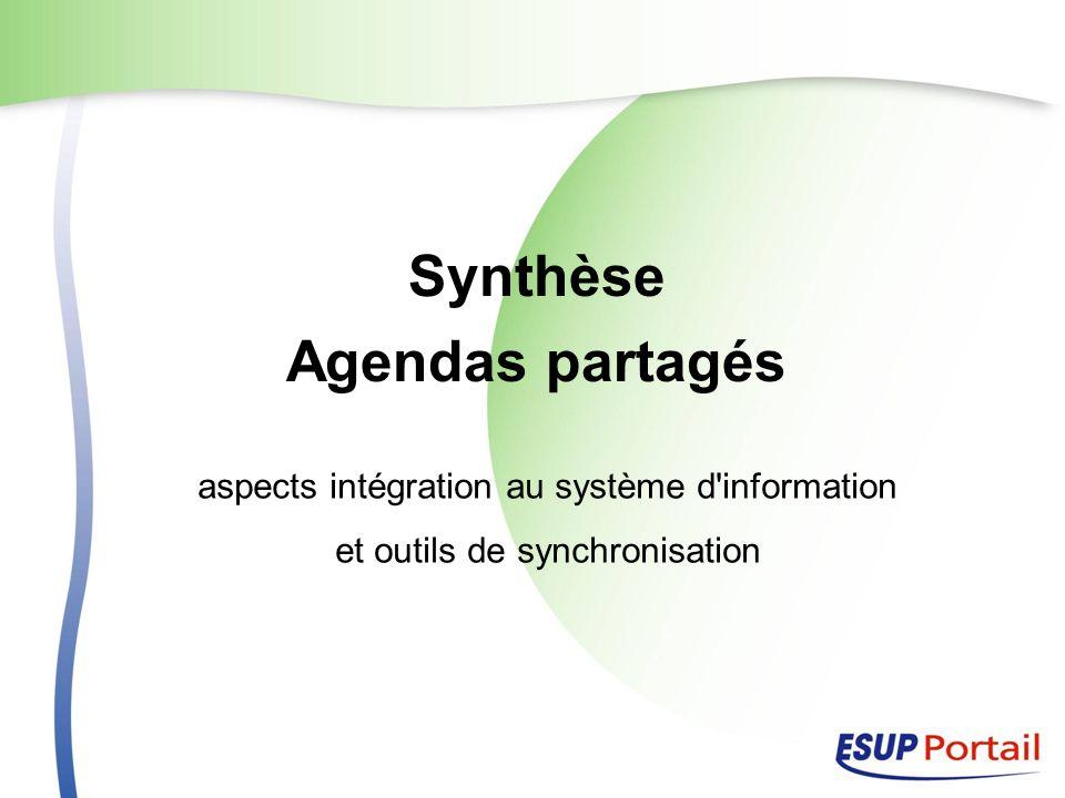 Synthèse Agendas partagés aspects intégration au système d information et outils de synchronisation