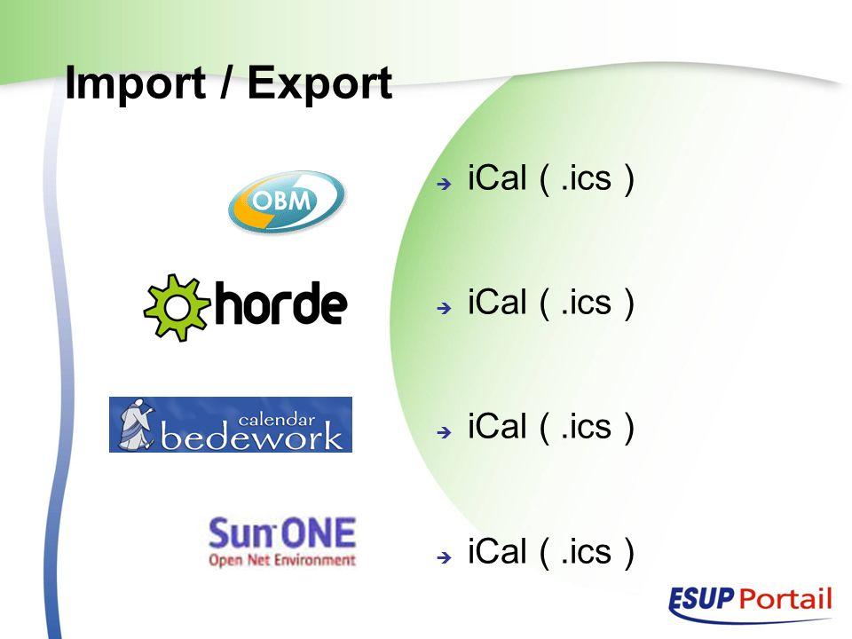Import / Export iCal (.ics )