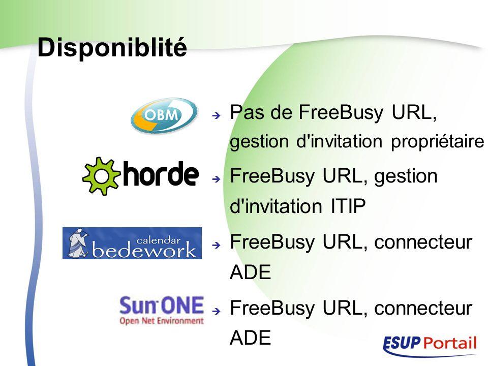 Disponiblité Pas de FreeBusy URL, gestion d'invitation propriétaire FreeBusy URL, gestion d'invitation ITIP FreeBusy URL, connecteur ADE