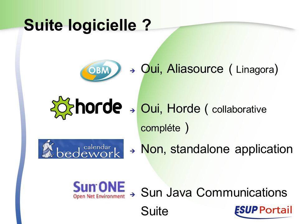 Suite logicielle ? Oui, Aliasource ( Linagora ) Oui, Horde ( collaborative compléte ) Non, standalone application Sun Java Communications Suite