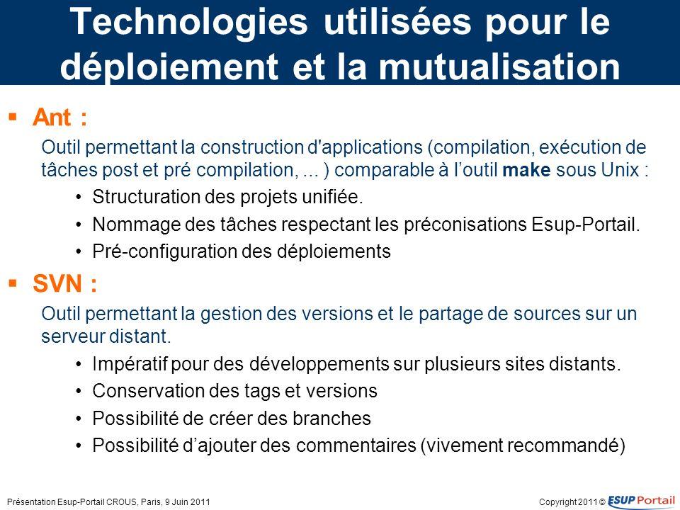 Copyright 2011 © Technologies utilisées pour le déploiement et la mutualisation Ant : Outil permettant la construction d'applications (compilation, ex