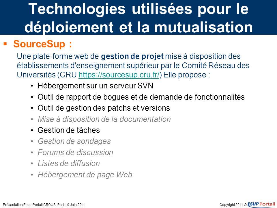 Copyright 2011 © Technologies utilisées pour le déploiement et la mutualisation SourceSup : Une plate-forme web de gestion de projet mise à dispositio