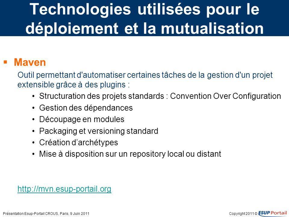 Copyright 2011 © Technologies utilisées pour le déploiement et la mutualisation Maven Outil permettant d'automatiser certaines tâches de la gestion d'