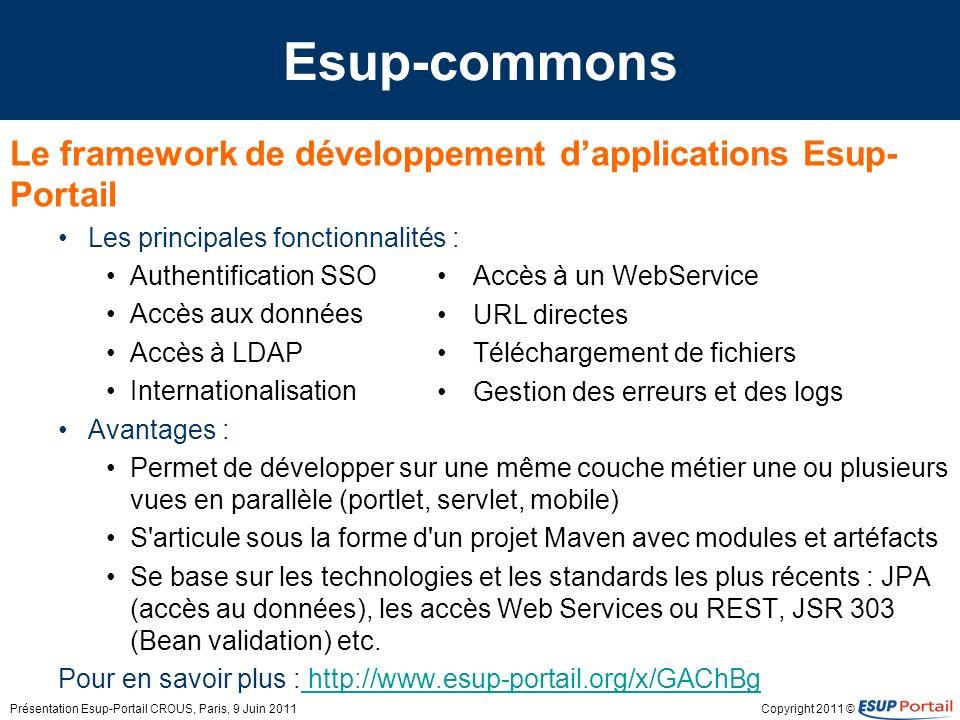 Copyright 2011 © Esup-commons Le framework de développement dapplications Esup- Portail Les principales fonctionnalités : Authentification SSO Accès a