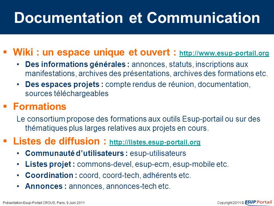 Copyright 2011 © Documentation et Communication Wiki : un espace unique et ouvert : http://www.esup-portail.org http://www.esup-portail.org Des inform