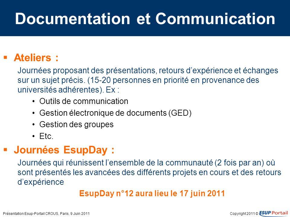 Copyright 2011 © Documentation et Communication Ateliers : Journées proposant des présentations, retours dexpérience et échanges sur un sujet précis.