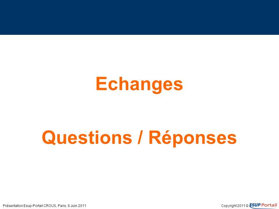Copyright 2011 © Echanges Questions / Réponses Présentation Esup-Portail CROUS, Paris, 9 Juin 2011