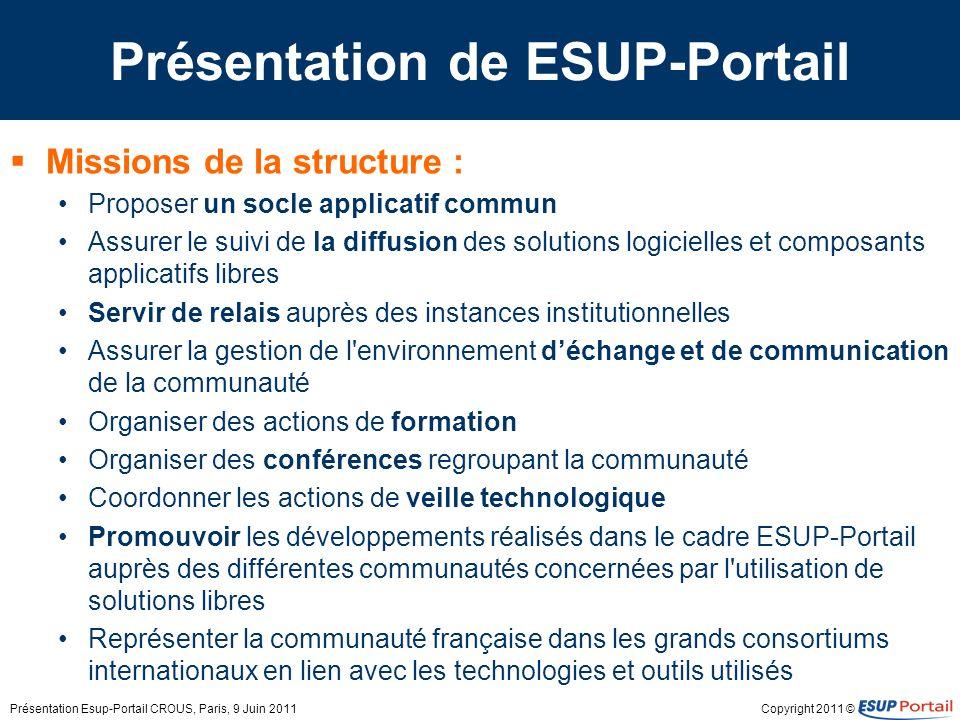 Copyright 2011 © Développement et mise à disposition du socle Esup-Portail est un portail web qui sappuie sur les technologies J2EE Il se base sur le socle développé par le consortium JASIG (http://www.jasig.org/ )http://www.jasig.org/ y apporte… Traductions Customisations Pré-configurations Simplifications de paramétrage Les versions Esup-Portail suivent les versions uPortal Présentation Esup-Portail CROUS, Paris, 9 Juin 2011