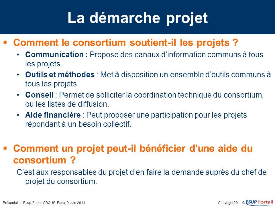 Copyright 2011 © La démarche projet Comment le consortium soutient-il les projets ? Communication : Propose des canaux dinformation communs à tous les
