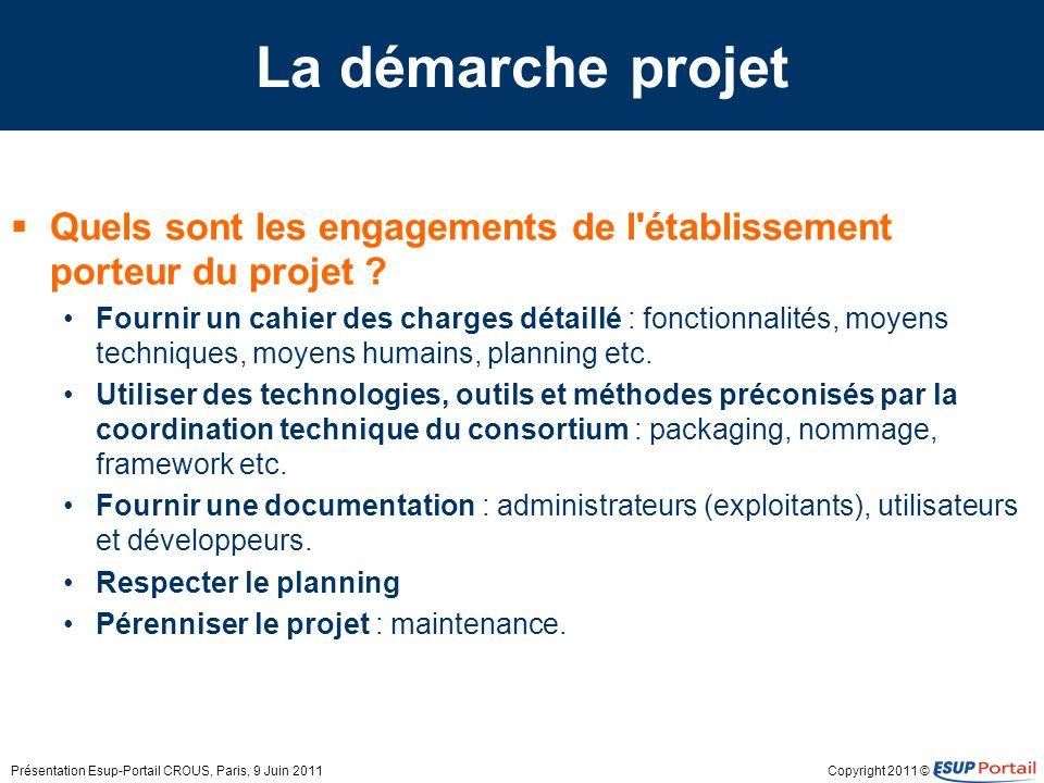 Copyright 2011 © La démarche projet Quels sont les engagements de l'établissement porteur du projet ? Fournir un cahier des charges détaillé : fonctio