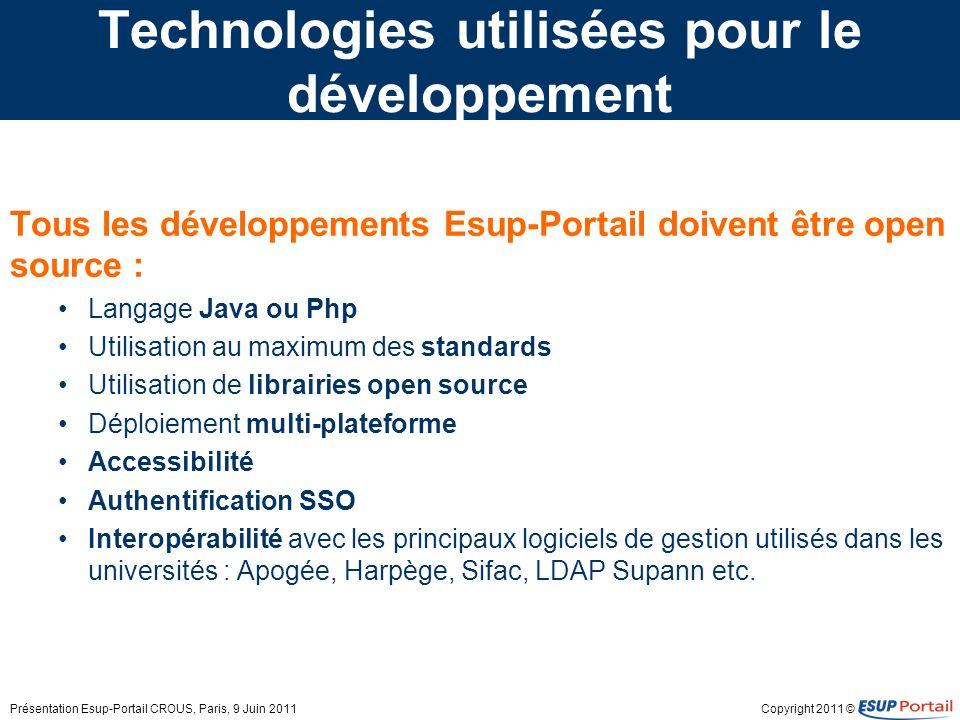 Copyright 2011 © Technologies utilisées pour le développement Tous les développements Esup-Portail doivent être open source : Langage Java ou Php Util