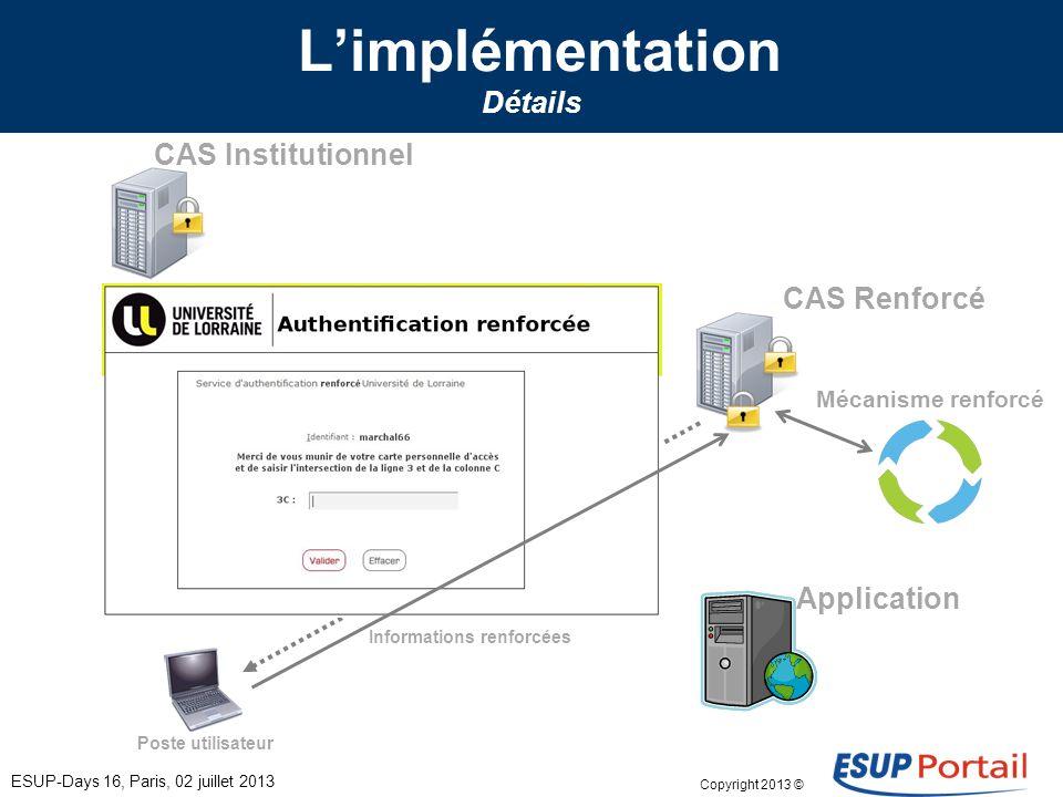 Copyright 2013 © Limplémentation Détails ESUP-Days 16, Paris, 02 juillet 2013 Poste utilisateur CAS Institutionnel CAS Renforcé Application Informatio