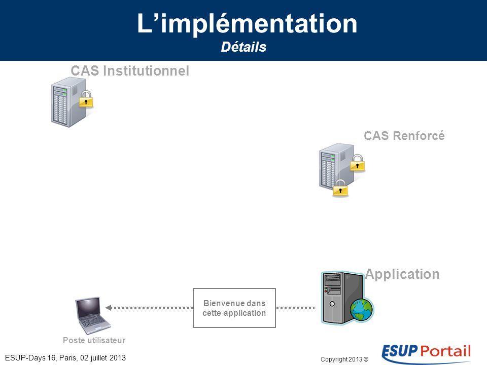 Copyright 2013 © Limplémentation Détails ESUP-Days 16, Paris, 02 juillet 2013 Poste utilisateur CAS Institutionnel CAS Renforcé Application Bienvenue