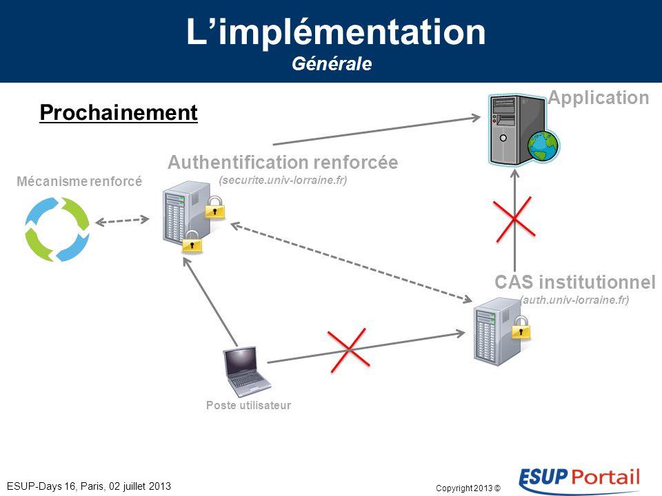 Copyright 2013 © Limplémentation Générale ESUP-Days 16, Paris, 02 juillet 2013 Prochainement Poste utilisateur CAS institutionnel (auth.univ-lorraine.