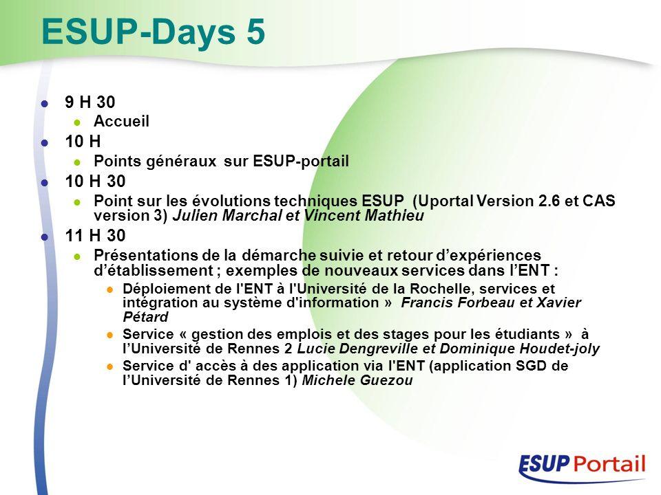 ESUP-Days 5 Formations Installation du portail, Administration du portail 17-18 septembre 2007 ESUP-Commons 12-14 septembre 2007 19-21 septembre 2007 Mutualisation des développements Méthodologie de développement ESUP-Commons Présentation de ESUP-Commons au séminaire co- développement de lAMUE (30/01/2008)